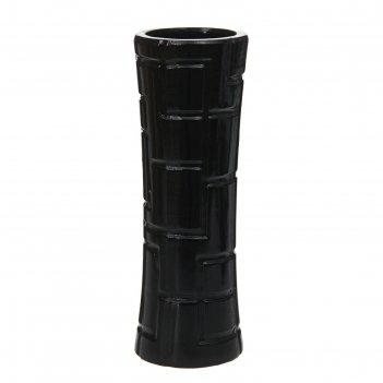 Ваза керамика полосы абстракция 26 см талия черный