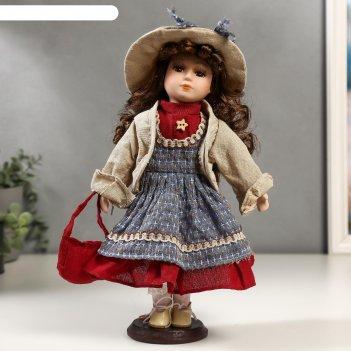 Кукла коллекционная керамика кристина в синем платье и бежевой курточке 30