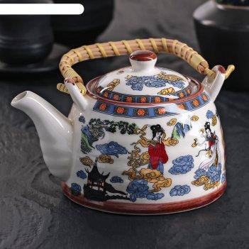 Чайник заварочный 600 мл девушка, с металлическим ситом