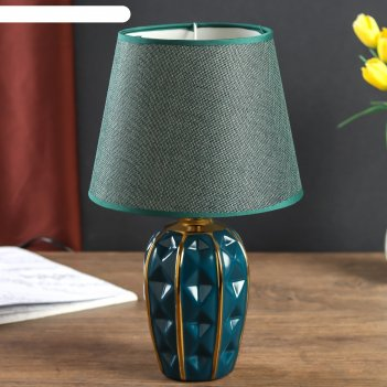 Лампа настольная керамика грани тёмно-зелёная с золотом е14 40вт 33х20х20
