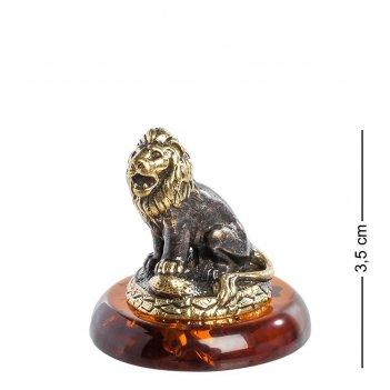Am- 991 фигурка знак зодиака-лев (латунь, янтарь)