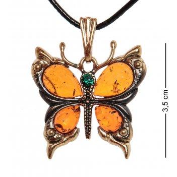 Am-1167 подвеска бабочка (латунь, янтарь)