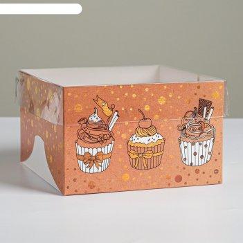 Коробка для капкейка «милой сластене», 16 x 16 x 10 см