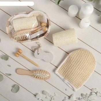 Набор банный, 4 предмета: 2 мочалки, пемза, массажёр, расчёска