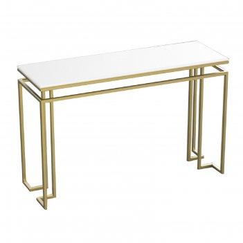 Консоль designo ножки металл золото столешница белая, 120х40х76см