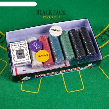 Набор для покера: 2 колоды карт бумажных 54 шт., 300 фишек с номиналом, су