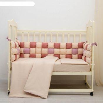 Комплект в кроватку 6 пр. пастила, цвет ягодный, бязь, хл100%