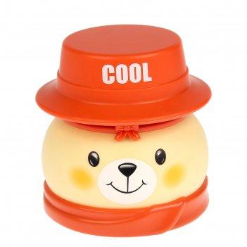Шкатулка музыкальная со светом пластик медвежонок в шляпе микс 12х12х12,5