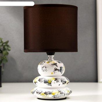 Лампа настольная 16296/1 e14 40вт бело-коричневый 15х15х26 см