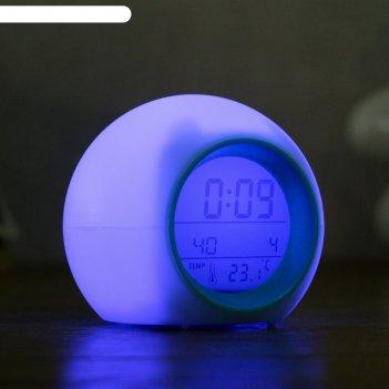 Часы электронные каор (будильник, дата, термометр) 9x8.5 см, 7 видов подсв