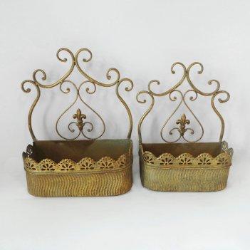Кашпо настенное, пара,  для цветов  декоративное,  золотая патина