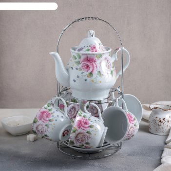 Сервиз чайный томная роза, 13 предметов на подставке: 6 чашек 250 мл, 6 бл