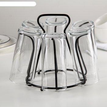 Сушилка для стаканов 6 крючков 20x20x18 см, цвет чёрный