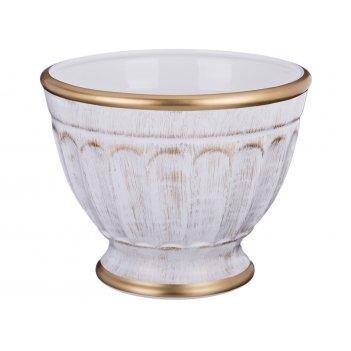 Кашпо малое элеганс белое с золотом диаметр=24 см.высота=19 см.