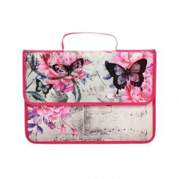 Папка-портфель на липучке, пластиковая, а4, 330 х 240 х 90, для девочки, п