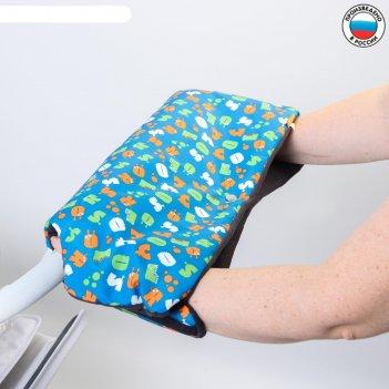 Муфта для рук на санки или коляску меховая, на кнопках, с рисунком
