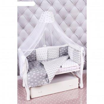 Комплект в кроватку premium royal baby, 18 предметов, бязь, серый