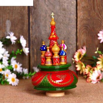 Сувенир-шкатулка музыкальная храм, 19х15,5 см, красно-зелёная