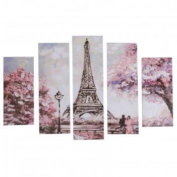 Модульная картина романтика парижа (2-23х52; 2-24х70; 1-24х80) 120х80см