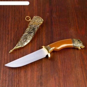 Кинжал сувенирный, рукоять под дерево с головой медведя, ножны расписные