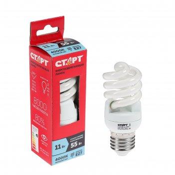 Лампа энергосберегающая старт eco 11wspc, 11 вт, e27, 4000 k, 230 в