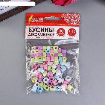 Бусины для творчества микс №1, 7-12 мм, 30г., 6 цветов