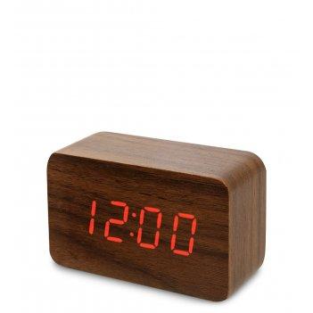 Ял-07-05/ 1 часы электронные сред. (коричневое дерево с красной подсветкой