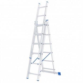 Лестница шарнирная 97816, алюминиевая, трехсекционная, 3х6 ступеней