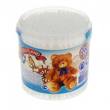 Ватные палочки  teddyland в круглой баночке, 200 шт
