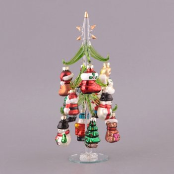 Елочка декоративная с шарами высота=25 см.