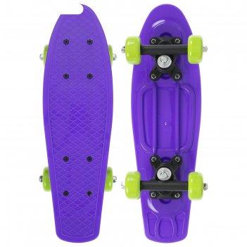 Скейтборд 42 х 12 см, колеса pvc 50 мм, пластиковая рама, цвет фиолетовый