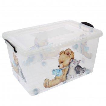 Контейнер для хранения 50 л мишка и котенок, цвет прозрачный