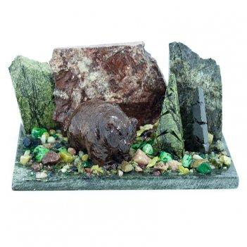 Сувенир мишка у ёлки камень змеевик