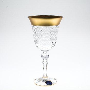 Набор бокалов для вина матовая полоса bohemia цветной хрусталь 220 мл(6 шт