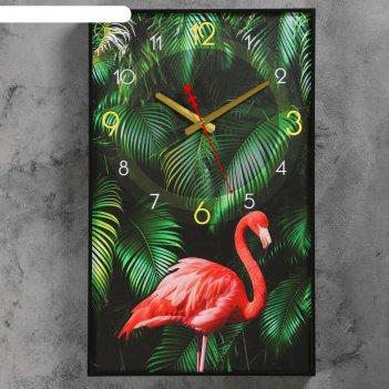 Часы настенные, серия: природа, фламинго, 37х60 см