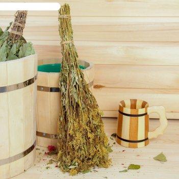 Веник для бани травяной из таволги, в индивидуальной упаковке