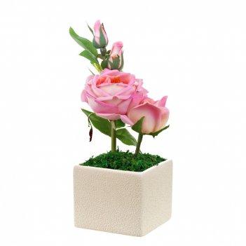 Композиция декоративная (с подсветкой) нежные розы (с эффектом