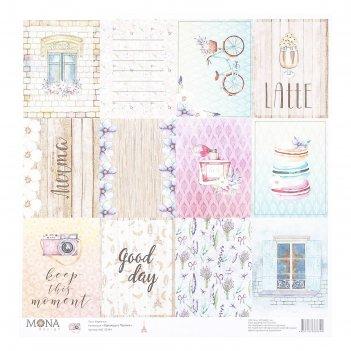 Бумага для скрапбукинга карточки. однажды в париже 30,5х30,5 см плотность