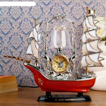 Часы-светильник с будильником корабль с коричневой кормой, от 220v