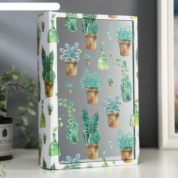Шкатулка-книга дерево кожзам суккуленты в горшках зеркало 26х17,5х5 см
