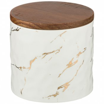 Банка для сыпучих продуктов коллекция золотой мрамор цвет:white 11,5*11 см