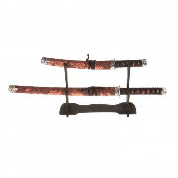 Катаны сувенирные 2в1 на подставке, коричневые ножны, с цветами