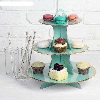 Подставка для пирожных нежность цвет бирюзовый