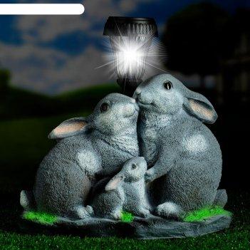 Садовый фонарь зайцы у фонаря 23х28см