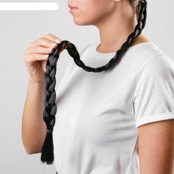 Коса на резинке жгучая брюнетка, длина 66 см