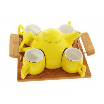 Чайный набор георгина кружки 4 шт, чайник 600 мл желтый, на подставке