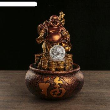 Фонтан настольный полистоун 220в хотей на горе из золотых монет бронза 28х