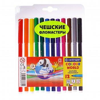Фломастеры 12 цветов centropen colour world, в блистере, линия 1.0 мм
