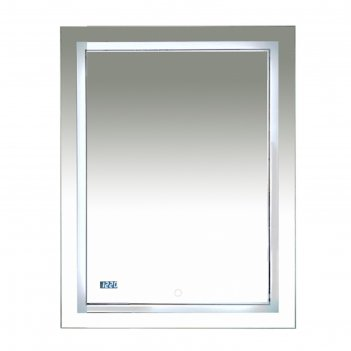 Зеркало 2 неон -  led 600х800 сенсор на зеркале + часы (двойная подсветка)