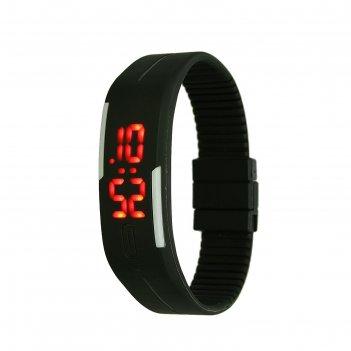Часы наручные, электронные, литые, застежка на магните, черные, l=25 см